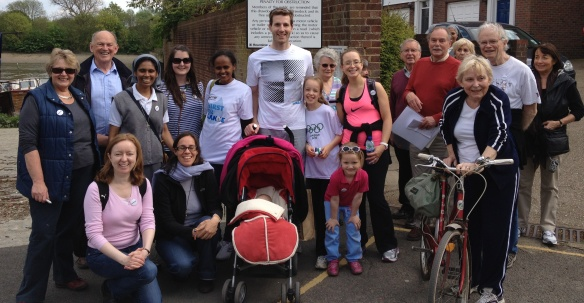 CAFOD Partner Lemlem (left of centre) with parishioners during the Chiswick Walk for Water