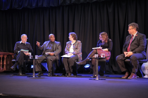 The panel of speakers, from left to right: John Battle, Fr Joe Komakoma, Chair Catherine Pepinster, Rosamund Urwin and CAFOD Director Chris Bain