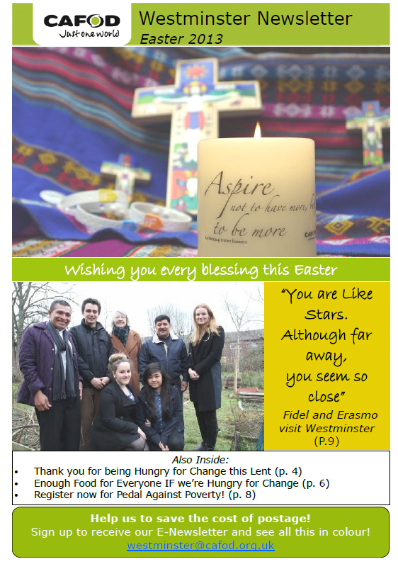 Click on the cover to view the latest edition of the CAFOD Westminster newsletter