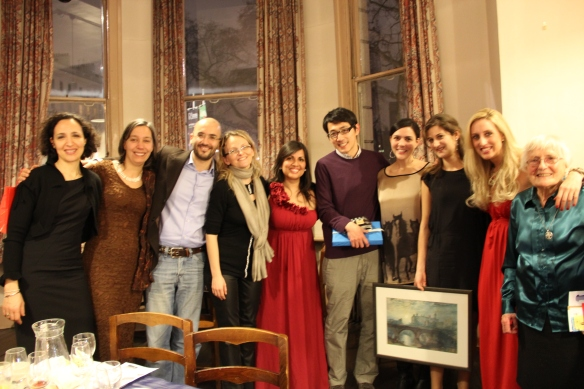 Some of the event's glamorous attendees (L to R): Paola Batori, Isabelle Bourette, Vito Conte, Chiara Berneri, Anthuanette Hidalgo, Li-Pen Wang, Susana Ochoa, Anne Chauveau, Angelica Angles, and Sister Francoise Georgeault (Canonesses of Saint Augustine)