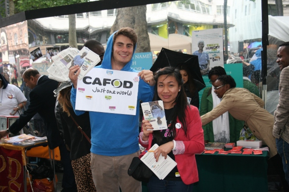 CAFOD Volunteers Alberto and Alana at the Spirit in the City festival