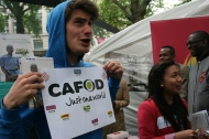 CAFOD volunteer Alberto drums up interest for CAFOD's Hungry for Change campaign