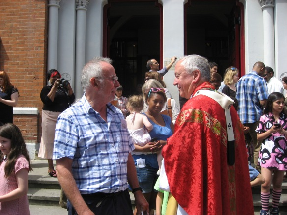 Archbishop Vincent Nichols with parishioner and CAFOD volunteer, Stephen King.