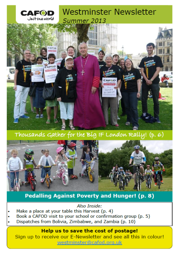 Westminster Newsletter Summer 2013 Cover screencap