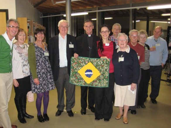 Bishop John Arnold (centre) joins with CAFOD supporters in solidarity with the people of Brazil.