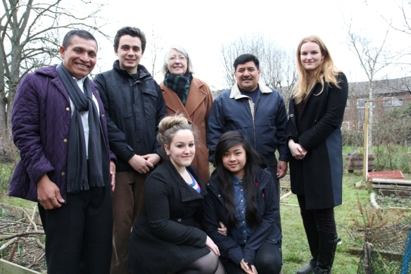 Erasmo (second from right) and Fidel (far left) with volunteers from St Margaret's, Twickenham