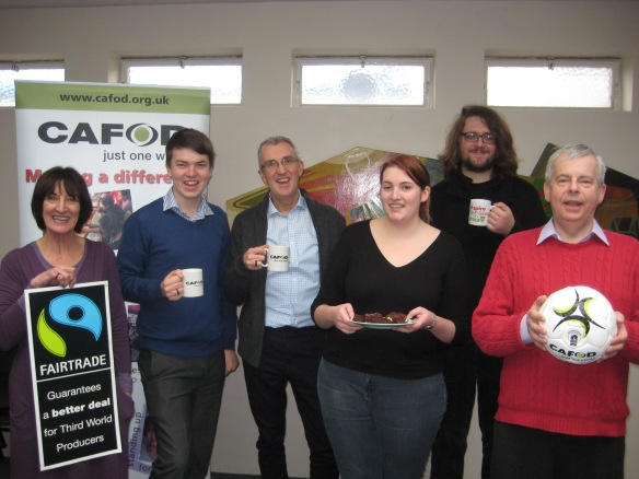 CAFOD volunteer Stephen Bone (second from the left). Why not invite a CAFOD volunteer to talk about initiatives such as fairtrade at your school?