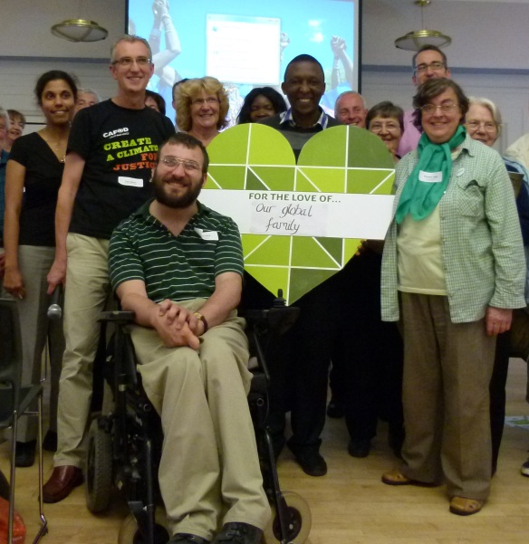 Antony Mbandi with Stefan King and other CAFOD supporters.