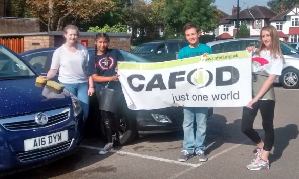 The Church of Christ the King youth group held a car wash for CAFOD after Harvest Fast Day Mass.