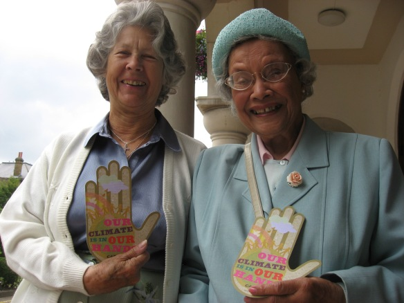 Dorothy McSweeny (right) campaigning with CAFOD to urge politicians to tackle climate change.