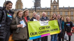 CAFOD campaigners outside the Houses of Parliament