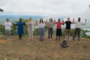 CAFOD volunteers with Susan in Zimbabwe