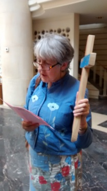 Barbara Kentish with Lampedusa Cross, CAFOD
