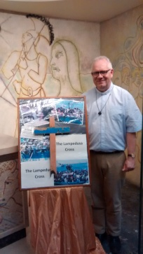 Father Pascale Boidin with the Lampedusa Cross, CAFOD