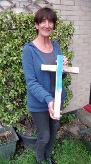 CAFOD Schools Volunteer Coordinator Patricia Margrove with Lampedusa Cross