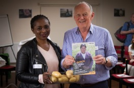 CAFOD Westminster Volunteers Rachel Armah and John O'Brien speak at Mass Harvest Fast Day