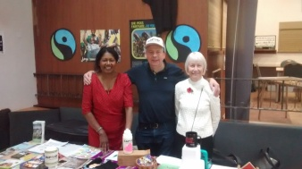 CAFOD Fairtrade stall with CAFOD Volunteers Richard, Rosemary and Rohinie