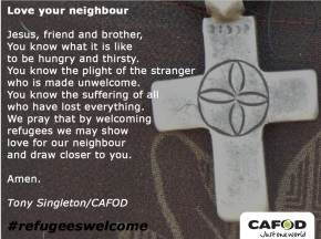 CAFOD Cross Welcome the Outsider Prayer