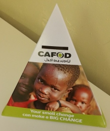 CAFOD Pyramid Collection box small change can make a big change