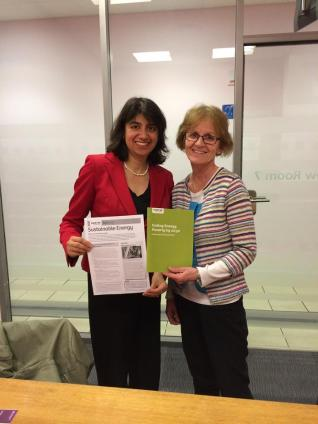 Campaigns Volunteer Miriam McEneaney lobbying her local MP Seema Hounslow as part of the Climate Coalition