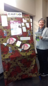 CAFOD Volunteer Maureen Mogg with CAFOD Lent Fast Day Display