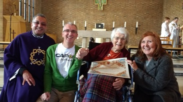 Father Norbert Fernandez,CAFOD's Tony Sheen, Mary O'Neil and Clare Dixon