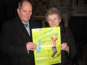 John Mooney with Elizabeth Carey promoting our Lent campaign