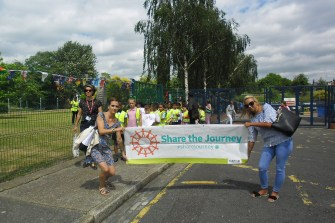 Guardian Angels Staff and pupils take part in Share the Journey walk